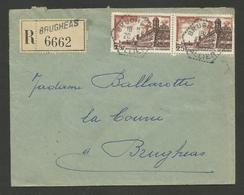 03 - ALLIER / Agence Postale Rurale BRUGHEAS / Recommandé Paire 25F Brouage 20.12.1957 - Marcophilie (Lettres)
