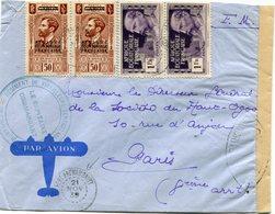 A. E. F. LETTRE PAR AVION CENSUREE DEPART FORT-ARCHAMBAULT 21 NOV 39 POUR LA FRANCE - Brieven En Documenten