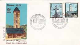 1977 ANDORRA FDC COVER- SANT MIQUEL D'ENGOLASTERS- BLEUP - Lettres & Documents