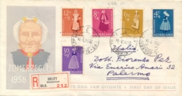 Netherlands 1958 FDC Registered Charity Stamps Costumes - Costumi
