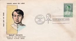 1963 PHILIPPINES MAXIMUN COVER- EMILIO JACINTO, BRAIN OF THE KATIPUNAN. UNANG ARAW NG LABAS - BLEUP - Philippines