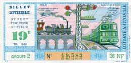 96Hs  Billet De Loterie Divisible Ne Peut Etre Vendu Au Public 26NF Train Electrique 1960 (N°2) - Biglietti Della Lotteria