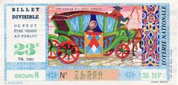 96Hs  Billet De Loterie Divisible Ne Peut Etre Vendu Au Public 26NF Le Coche Groupe 8 De 1961 - Loterijbiljetten
