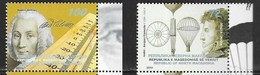 NORTH MACEDONIA, 2019, MNH, SCIENCE, FAMOUS CIENTISTS, ANDERS CELSIUS, ANDRE -JACQUES GARNERIN,2v - Climate & Meteorology