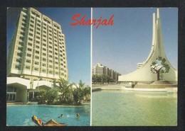 United Arab Emirates Sharjah 2 Scene Holiday Inn Hotel Rolla Square Picture Postcard U A E View Card - Dubai