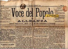 "ITALIE 1874 CACHET ROUGE ""PERIODICI FRANCHI 1 CT "" SUR JOURNAL ""VOCE DEL POPOLO"" 3 PHOTOS - 1861-78 Victor Emmanuel II."
