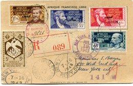 A. E. F. CARTE POSTALE RECOMMANDEE CENSUREE DEPART BRAZZAVILLE 27 (JUIN) 43 MOYEN-CONGO POUR LES ETATS-UNIS - A.E.F. (1936-1958)
