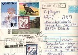 !  1995 Cover From Kasachstan, Einschreiben, Reco Letter, Dinosaurier Briefmarke - Kasachstan