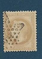 Timbre Oblitéré France, N°28a Yt, Napoléon III Lauré , Charnière, Cachet étoile - 1863-1870 Napoléon III. Laure