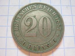 20 Pfennig 1887 (A) - [ 2] 1871-1918: Deutsches Kaiserreich