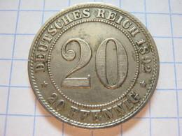 20 Pfennig 1892 (A) - [ 2] 1871-1918: Deutsches Kaiserreich