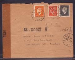 Lettre Recommandée Provisoire De Rodez 07.05.1945 -  Pour New York -  Zensur/ Censure US De New York 5223 - Marcophilie (Lettres)