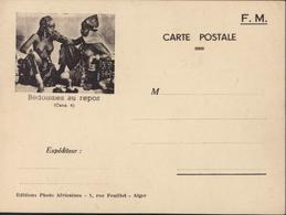 CP FM Franchise Militaire Bédouines Au Repos Cens 4 Editions Photo Africaines 1 Rue Feuillet Alger Algérie Seins Nus - Storia Postale