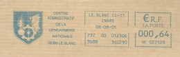 EMA METER STAMP FREISTEMPEL Gendarmerie Française - Militaria