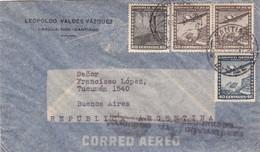 1950'S CHILE AIRMAIL-LEOPOLDO VALDEZ VAZQUEZ. CIRCULEE TO ARGENTINE, TIMBRES UNIES, BANDELETA PARLANTE- BLEUP - Chili