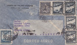 1944 CHILE AIRMAIL-LEOPOLDO VALDEZ VAZQUEZ. CIRCULEE TO ARGENTINE, TIMBRES UNIES, BANDELETA PARLANTE- BLEUP - Chili