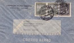 1951 CHILE AIRMAIL-LEOPOLDO VALDEZ VAZQUEZ. CIRCULEE TO ARGENTINE, TIMBRE A PAIR, BANDELETA PARLANTE- BLEUP - Chili