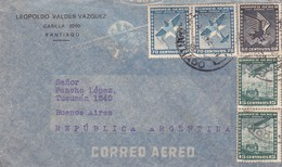 1942 CHILE AIRMAIL-LEOPOLDO VALDEZ VAZQUEZ. CIRCULEE TO ARGENTINE, TIMBRES UNIES, BANDELETA PARLANTE- BLEUP - Chili