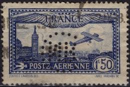 FRANCE Poste Aérienne 6 (o) Avion Survolant Paris PERFORE Perfin Original Rare - France