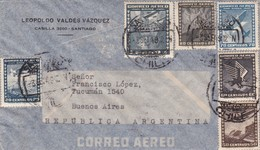 1949 CHILE AIRMAIL-LEOPOLDO VALDEZ VAZQUEZ. CIRCULEE TO ARGENTINE, MIXED STAMPS, BANDELETA PARLANTE- BLEUP - Chili