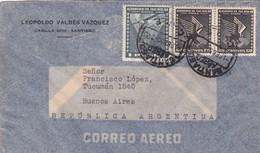 1950 CHILE AIRMAIL-LEOPOLDO VALDEZ VAZQUEZ. CIRCULEE TO ARGENTINE, TIMBRE A PAIR, BANDELETA PARLANTE- BLEUP - Chili