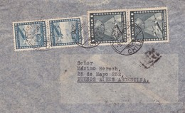 1944 CHILE AIRMAIL-LEOPOLDO VALDEZ VAZQUEZ. CIRCULEE TO ARGENTINE, STAMPS A PAIR, BANDELETA PARLANTE- BLEUP - Chili