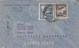 1941 CHILE AIRMAIL-LEOPOLDO VALDEZ VAZQUEZ. CIRCULEE TO ARGENTINE, BANDELETA PARLANTE- BLEUP - Chili