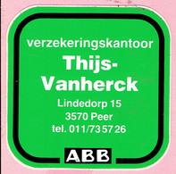 Sticker - ABB - Verzekeringskantoor Thijs Vanherck - Lindedorp PEER - Autocollants