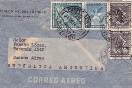 1944 CHILE AIRMAIL-LEOPOLDO VALDEZ VAZQUEZ. CIRCULEE TO ARGENTINE, MIXED STAMPS- BLEUP - Chili