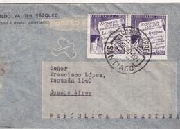 1959 CHILE AIRMAIL-LEOPOLDO VALDEZ VAZQUEZ. CIRCULEE TO ARGENTINE, TIMBRE A PAIR, FULL CONTENT INSIDE- BLEUP - Chili