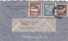 1950 CHILE AIRMAIL-LEOPOLDO VALDEZ VAZQUEZ. CIRCULEE TO ARGENTINE, MIXED STAMPS- BLEUP - Chili