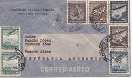 1945 CHILE AIRMAIL-LEOPOLDO VALDEZ VAZQUEZ. CIRCULEE TO ARGENTINE, MIXED STAMPS- BLEUP - Chili