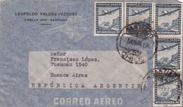1946 CHILE AIRMAIL-LEOPOLDO VALDEZ VAZQUEZ. CIRCULEE TO ARGENTINE, TIMBRES UNIES- BLEUP - Chili