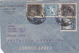 1947 CHILE AIRMAIL-LEOPOLDO VALDEZ VAZQUEZ. CIRCULEE TO ARGENTINE, MIXED STAMPS- BLEUP - Chili