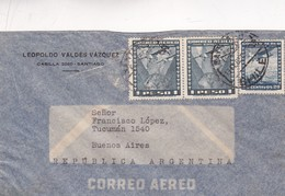 1950 CHILE AIRMAIL-LEOPOLDO VALDEZ VAZQUEZ. CIRCULEE TO ARGENTINE- BLEUP - Chili