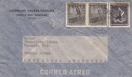 1940'S CHILE AIRMAIL-LEOPOLDO VALDEZ VAZQUEZ. CIRCULEE TO ARGENTINE- BLEUP - Chili