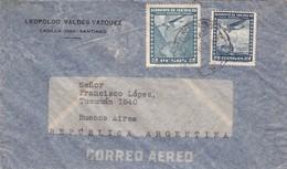 1949 CHILE AIRMAIL-LEOPOLDO VALDEZ VAZQUEZ. CIRCULEE TO ARGENTINE- BLEUP - Chili