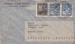 1954 CHILE AIRMAIL-LEOPOLDO VALDEZ VAZQUEZ. CIRCULEE TO ARGENTINE- BLEUP - Chili