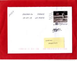 F 2019 /  Sur Lettre Obl 19/07/2019 (PJ) / 1.30 €, Signé Par Alice Bigot, Premier Pas De L'Homme Sur La Lune 1969/2019 - France