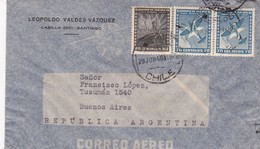 1948 CHILE AIRMAIL-LEOPOLDO VALDEZ VAZQUEZ. CIRCULEE TO ARGENTINE- BLEUP - Chili