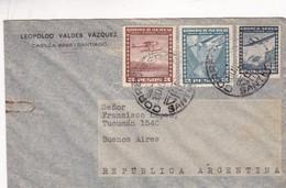1940'S CHILE AIRMAIL-LEOPOLDO VALDEZ VAZQUEZ. CIRCULEE TO ARGENTINE, MIXED STAMPS- BLEUP - Chili