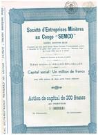 """Action Ancienne - Société D'Entreprises Minières Au Congo - """"SEMCO"""" - Titre De 1936 - - Afrique"""