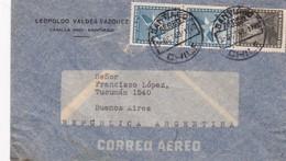 1949 CHILE AIRMAIL-LEOPOLDO VALDEZ VAZQUEZ. CIRCULEE TO ARGENTINE, TIMBRE A PAIR- BLEUP - Chili
