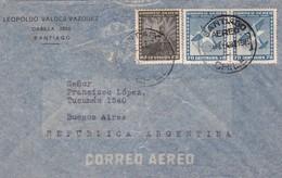 1948 CHILE AIRMAIL-LEOPOLDO VALDEZ VAZQUEZ. CIRCULEE TO ARGENTINE,TIMBRE A PAIR- BLEUP - Chili