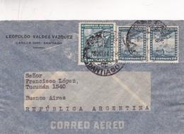 1944 CHILE AIRMAIL-LEOPOLDO VALDEZ VAZQUEZ. CIRCULEE TO ARGENTINE,TIMBRE A PAIR- BLEUP - Chili