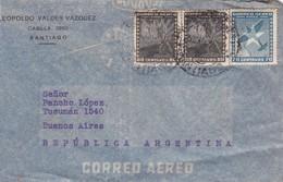 1942 CHILE AIRMAIL-LEOPOLDO VALDEZ VAZQUEZ. CIRCULEE TO ARGENTINE,TIMBRE A PAIR- BLEUP - Chili
