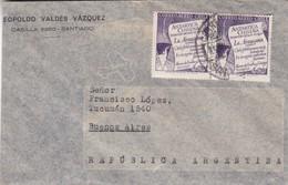 1950'S CHILE AIRMAIL-LEOPOLDO VALDEZ VAZQUEZ. CIRCULEE TO ARGENTINE- BLEUP - Chili