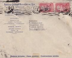 1961 CHILE COMMERCIAL COVER-SOCIEDAD ANONIMA MADEDERA DEL SUR SOMASUR. CIRCULEEE TO ARGENTINE, TIMBRE A PAIR- BLEUP - Chili