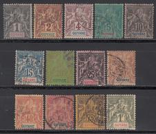 1892   Yvert Nº 30 / 42 - Französisch-Guayana (1886-1949)