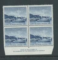 Christmas Island 1963 Pictorial Definitives 20c Boat Imprint Block Of 4 MNH - Christmas Island